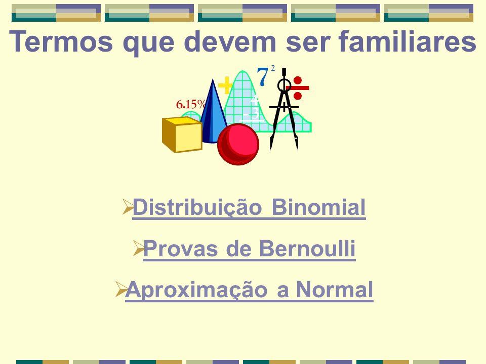 Termos que devem ser familiares Distribuição Binomial