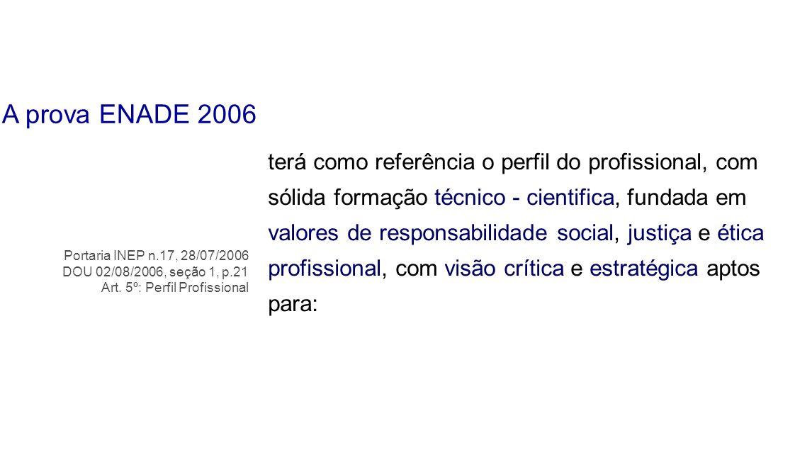 A prova ENADE 2006
