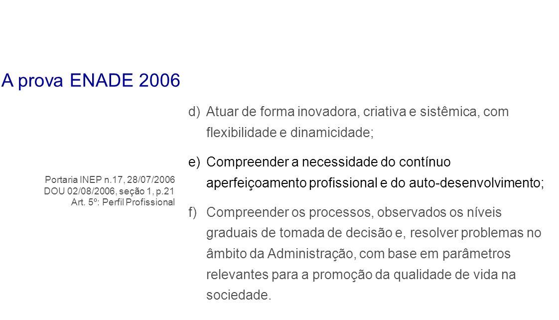 A prova ENADE 2006Atuar de forma inovadora, criativa e sistêmica, com flexibilidade e dinamicidade;