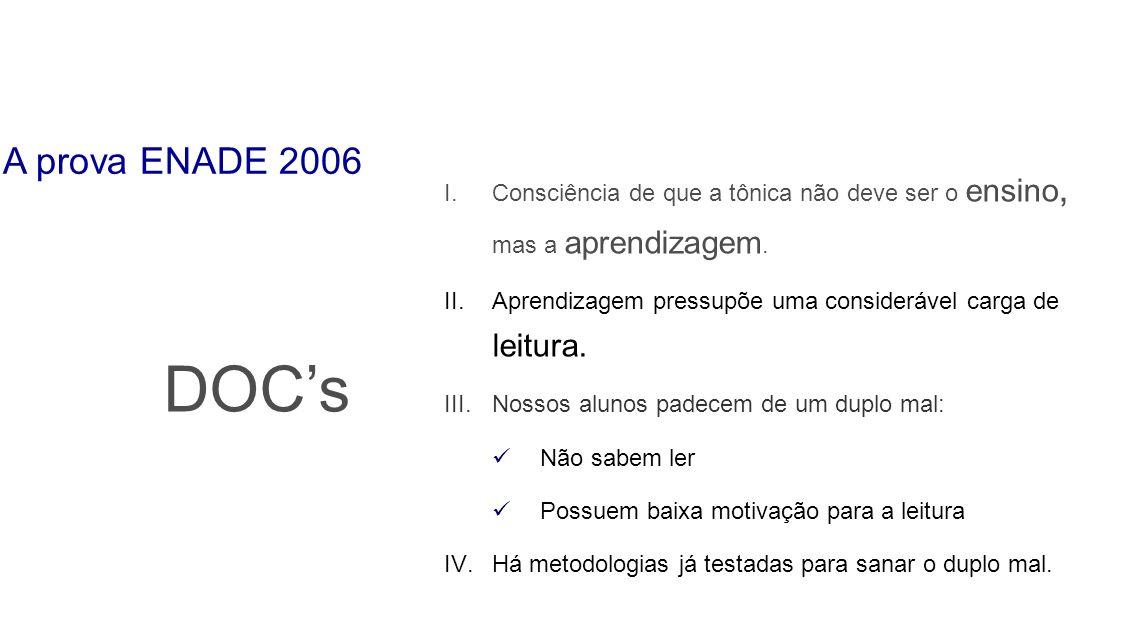 A prova ENADE 2006 Consciência de que a tônica não deve ser o ensino, mas a aprendizagem.