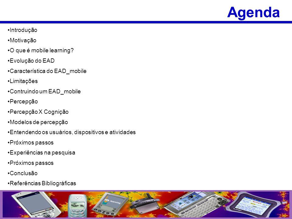 Agenda Introdução Motivação O que é mobile learning Evolução do EAD