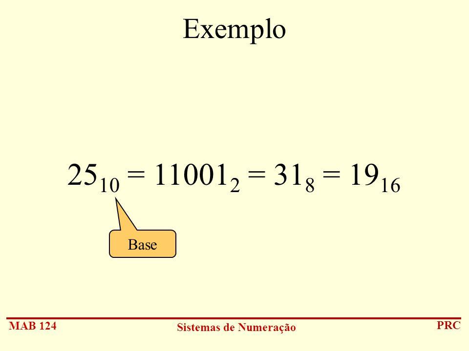 Exemplo 2510 = 110012 = 318 = 1916 Base