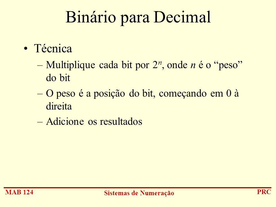Binário para Decimal Técnica
