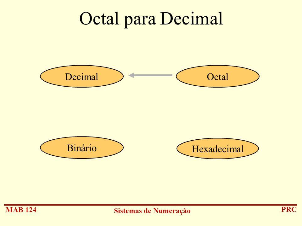 Octal para Decimal Decimal Octal Binário Hexadecimal