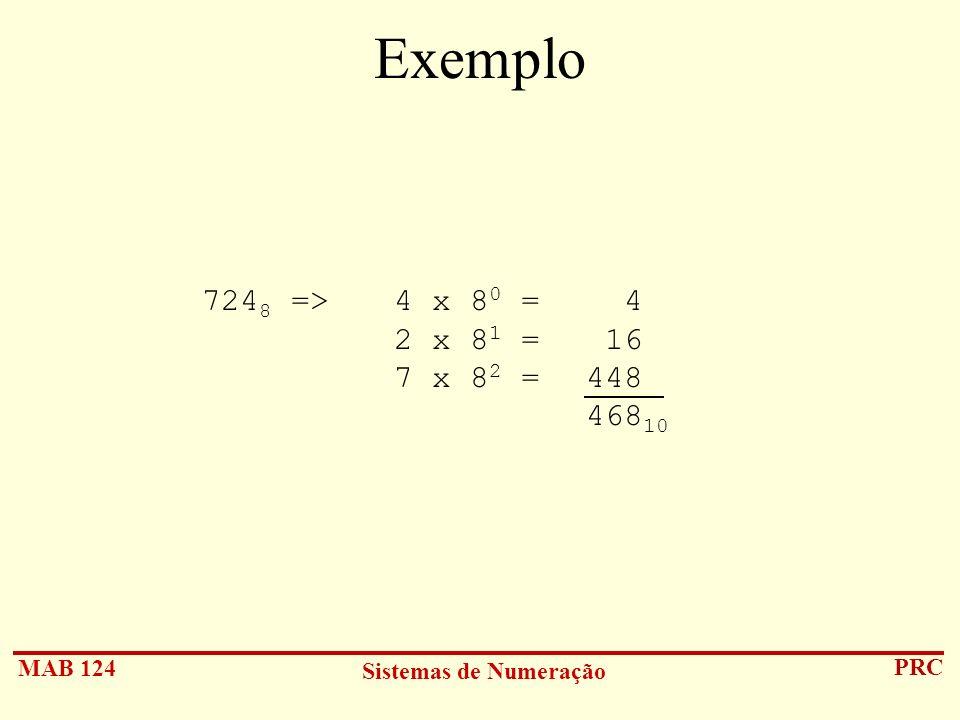 Exemplo 7248 => 4 x 80 = 4 2 x 81 = 16 7 x 82 = 448 46810
