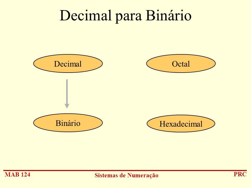 Decimal para Binário Decimal Octal Binário Hexadecimal