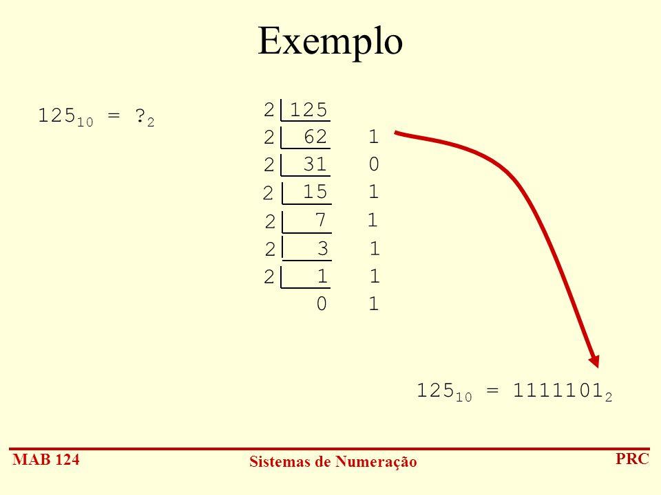 Exemplo 2 125 62 1. 12510 = 2. 2 31 0. 2 15 1. 2 7 1. 2 3 1.