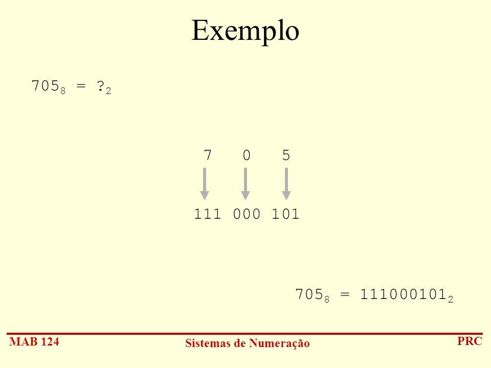 Exemplo 7058 = 2 7 0 5 111 000 101 7058 = 1110001012