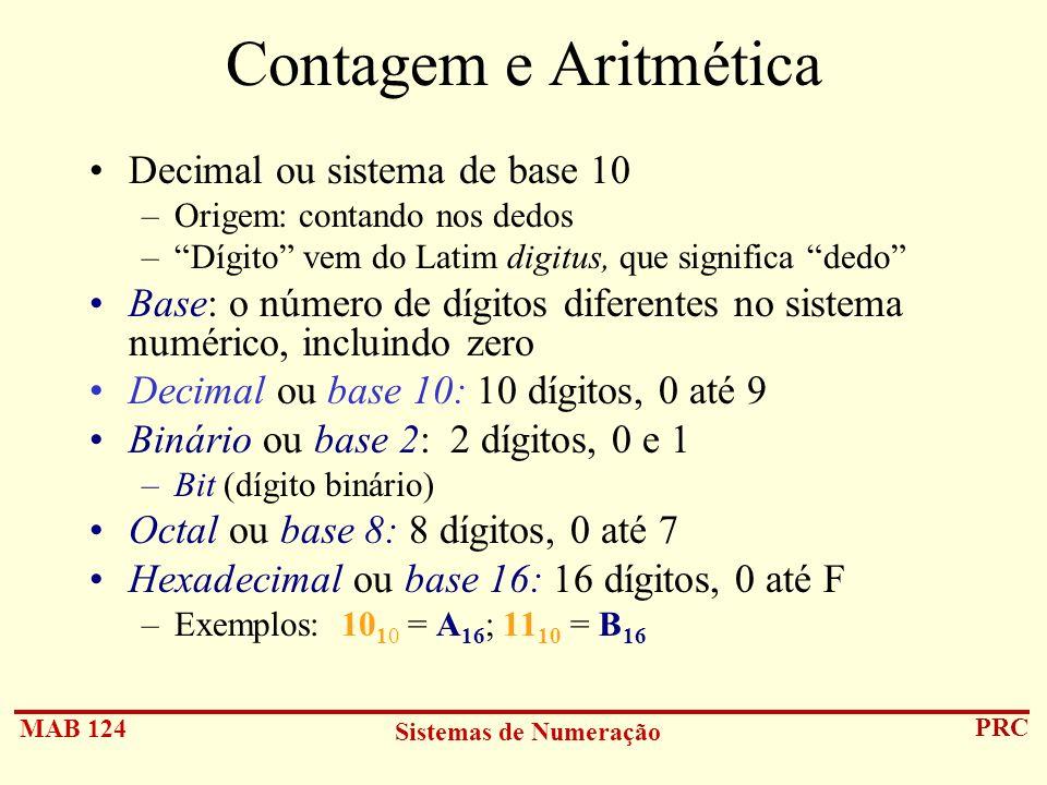 Contagem e Aritmética Decimal ou sistema de base 10