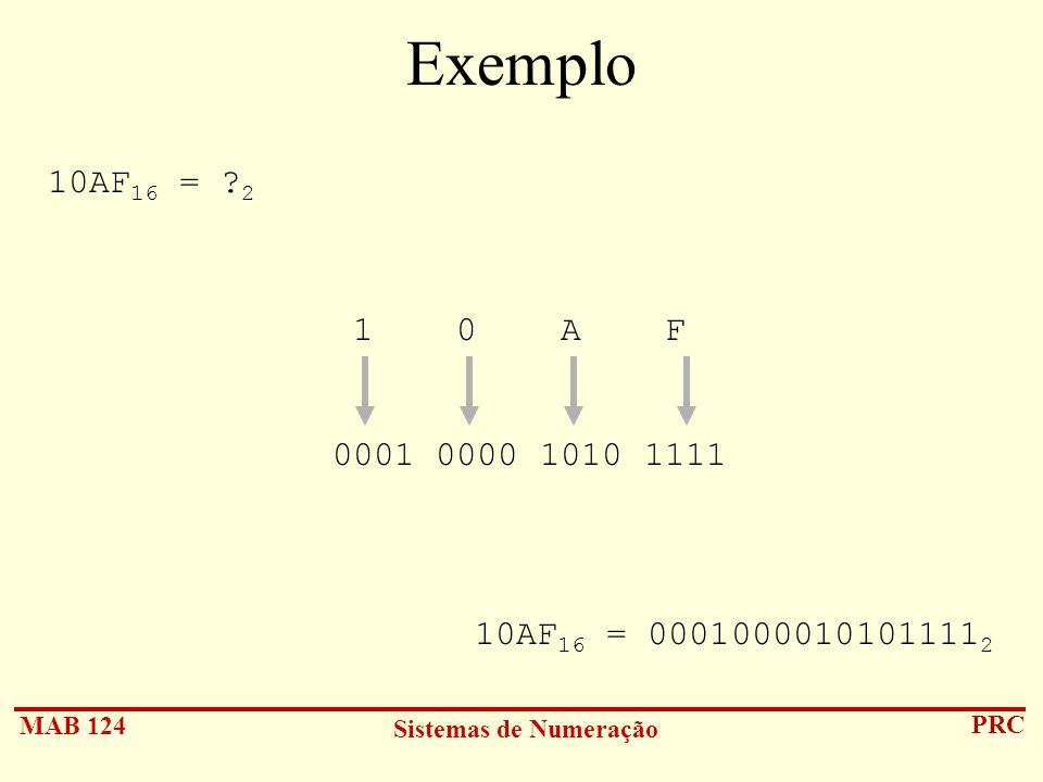 Exemplo 10AF16 = 2 1 0 A F 0001 0000 1010 1111 10AF16 = 00010000101011112