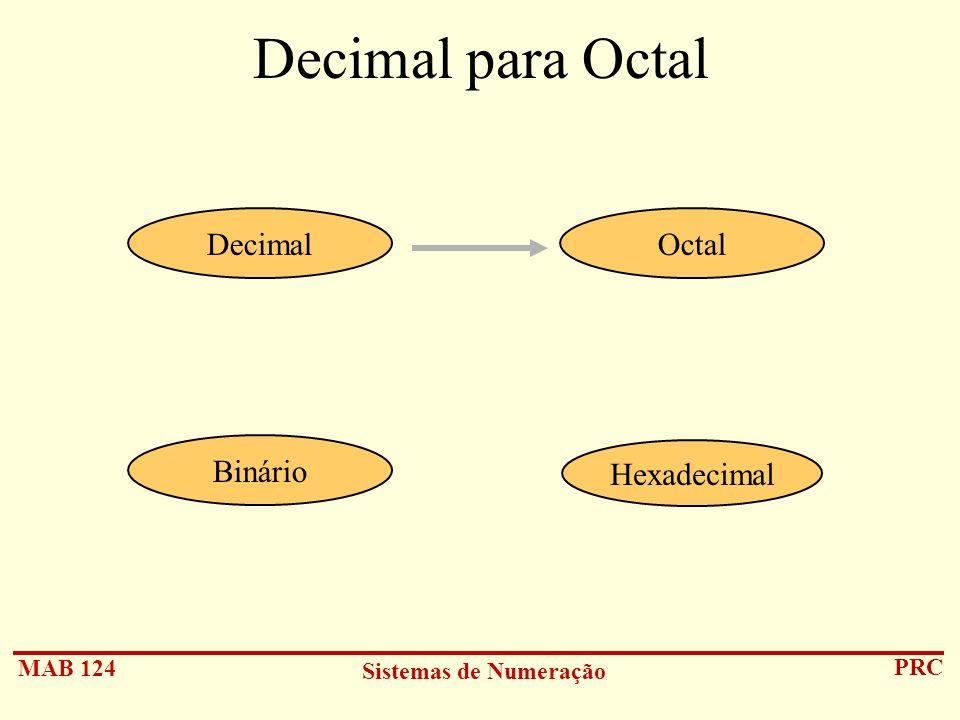Decimal para Octal Decimal Octal Binário Hexadecimal