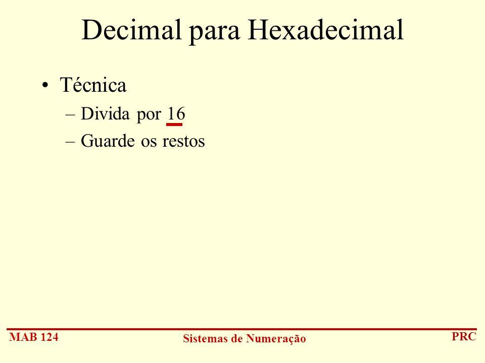 Decimal para Hexadecimal