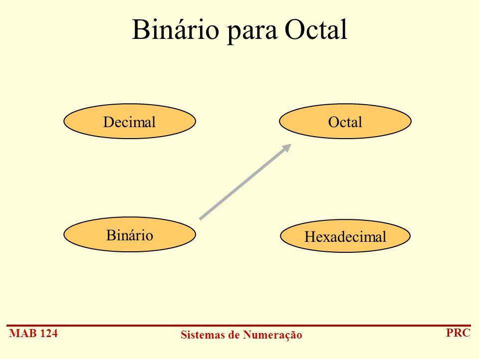 Binário para Octal Decimal Octal Binário Hexadecimal