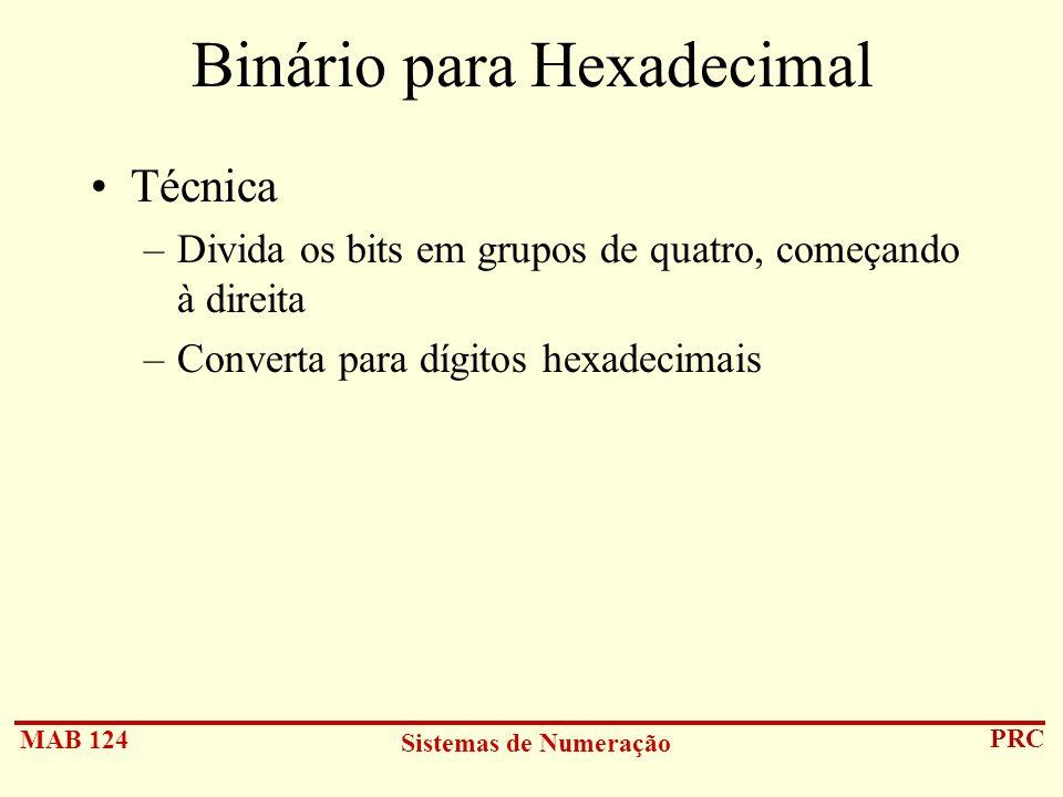 Binário para Hexadecimal