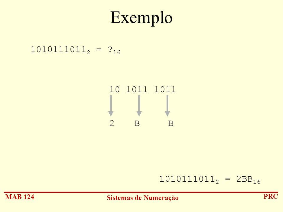 Exemplo 10101110112 = 16 10 1011 1011 B B 10101110112 = 2BB16