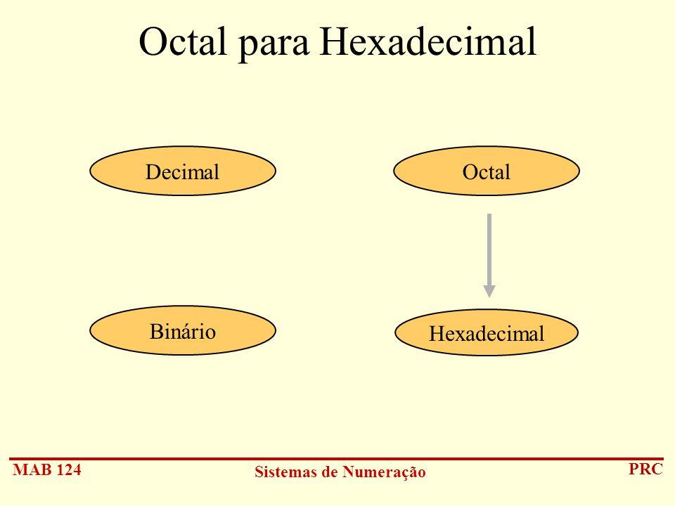 Octal para Hexadecimal