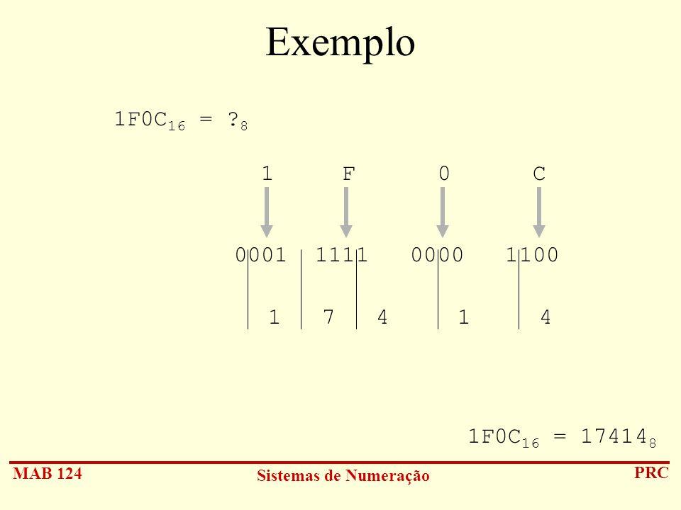 Exemplo 1F0C16 = 8. 1 F 0 C. 0001 1111 0000 1100.