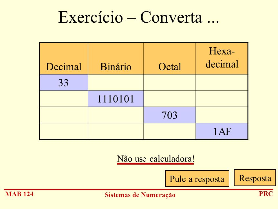 Exercício – Converta ... Decimal Binário Octal Hexa- decimal 33