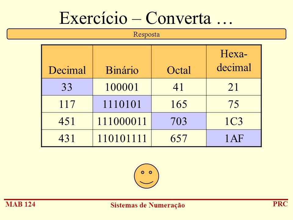 Exercício – Converta … Decimal Binário Octal Hexa- decimal 33 100001