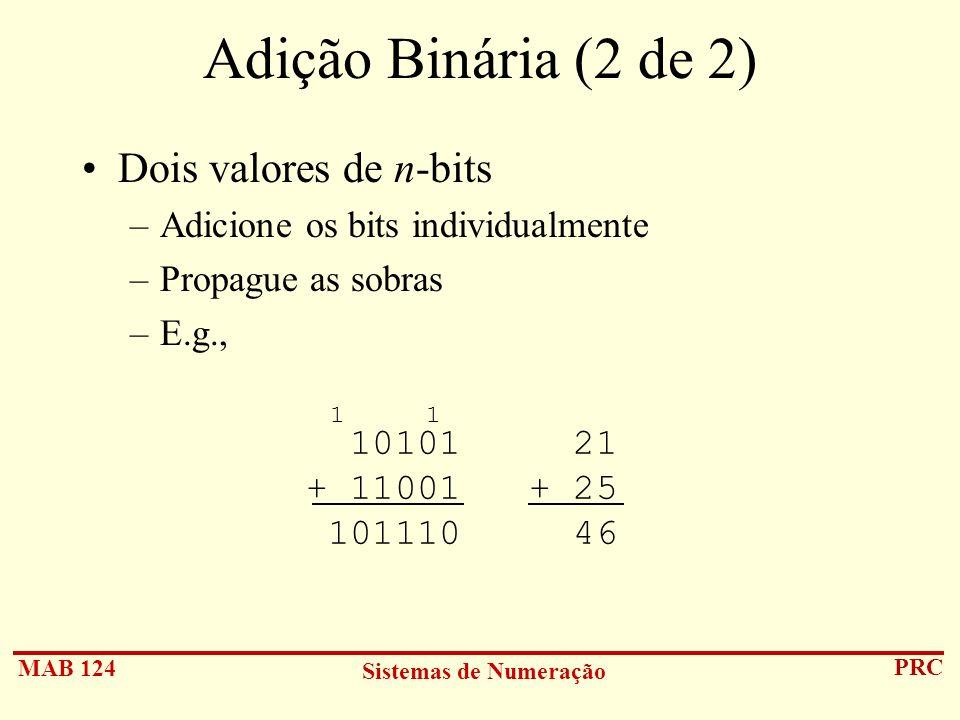 Adição Binária (2 de 2) Dois valores de n-bits