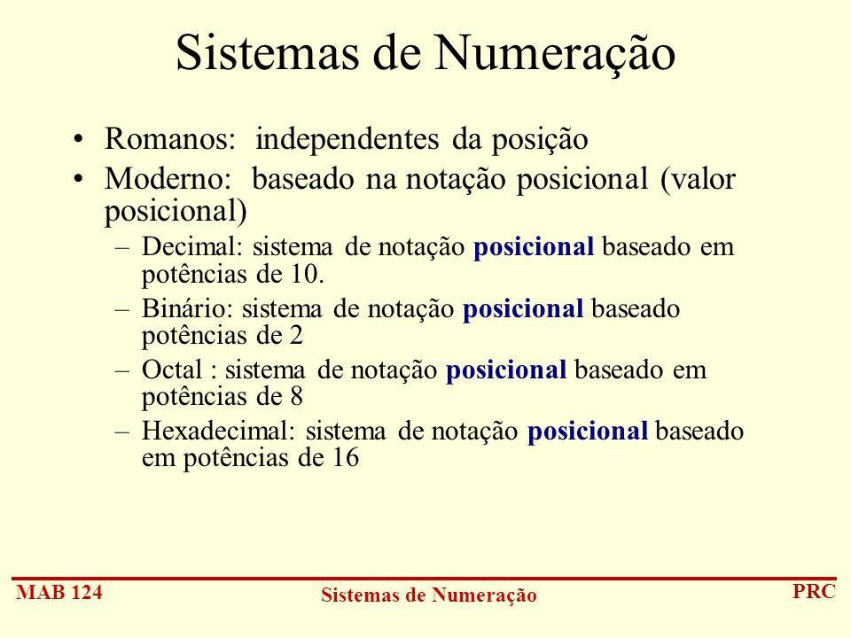 Sistemas de Numeração Romanos: independentes da posição