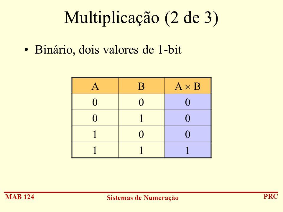 Multiplicação (2 de 3) Binário, dois valores de 1-bit A B A  B 1