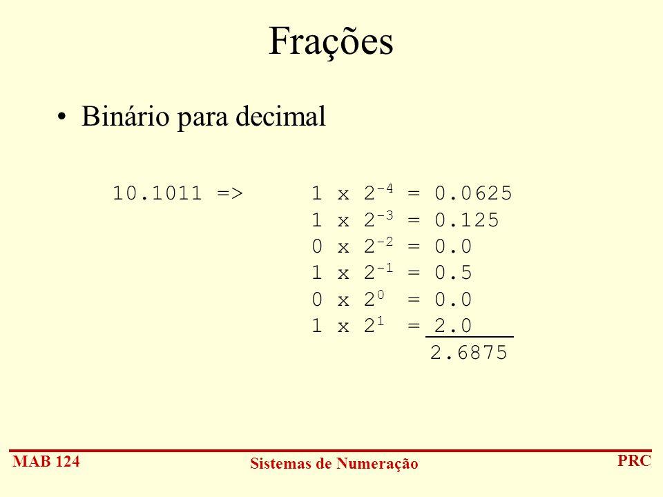 Frações Binário para decimal