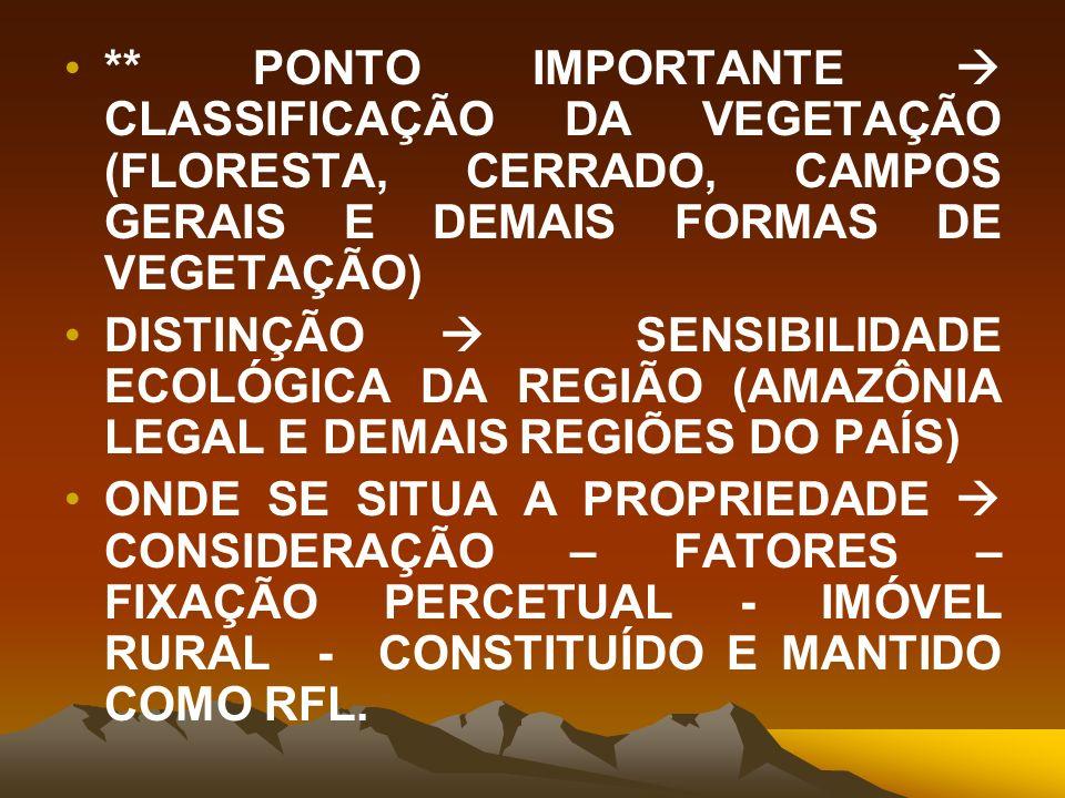 ** PONTO IMPORTANTE  CLASSIFICAÇÃO DA VEGETAÇÃO (FLORESTA, CERRADO, CAMPOS GERAIS E DEMAIS FORMAS DE VEGETAÇÃO)
