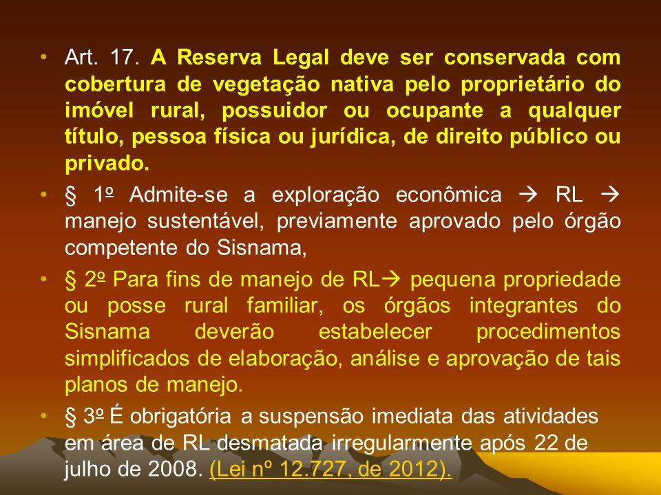 Art. 17. A Reserva Legal deve ser conservada com cobertura de vegetação nativa pelo proprietário do imóvel rural, possuidor ou ocupante a qualquer título, pessoa física ou jurídica, de direito público ou privado.
