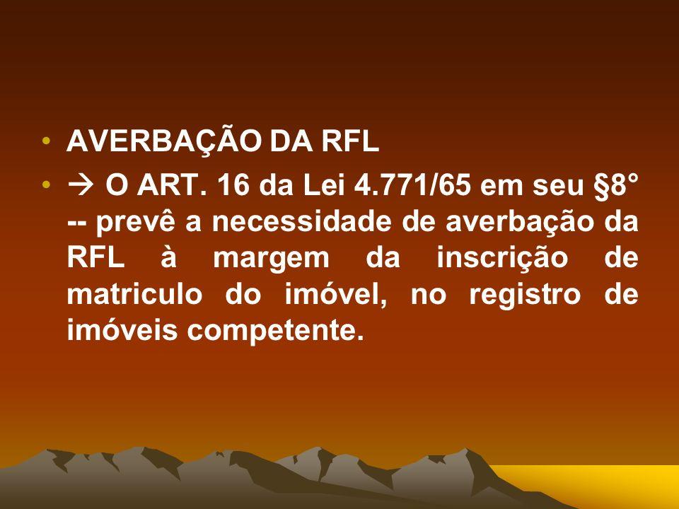 AVERBAÇÃO DA RFL