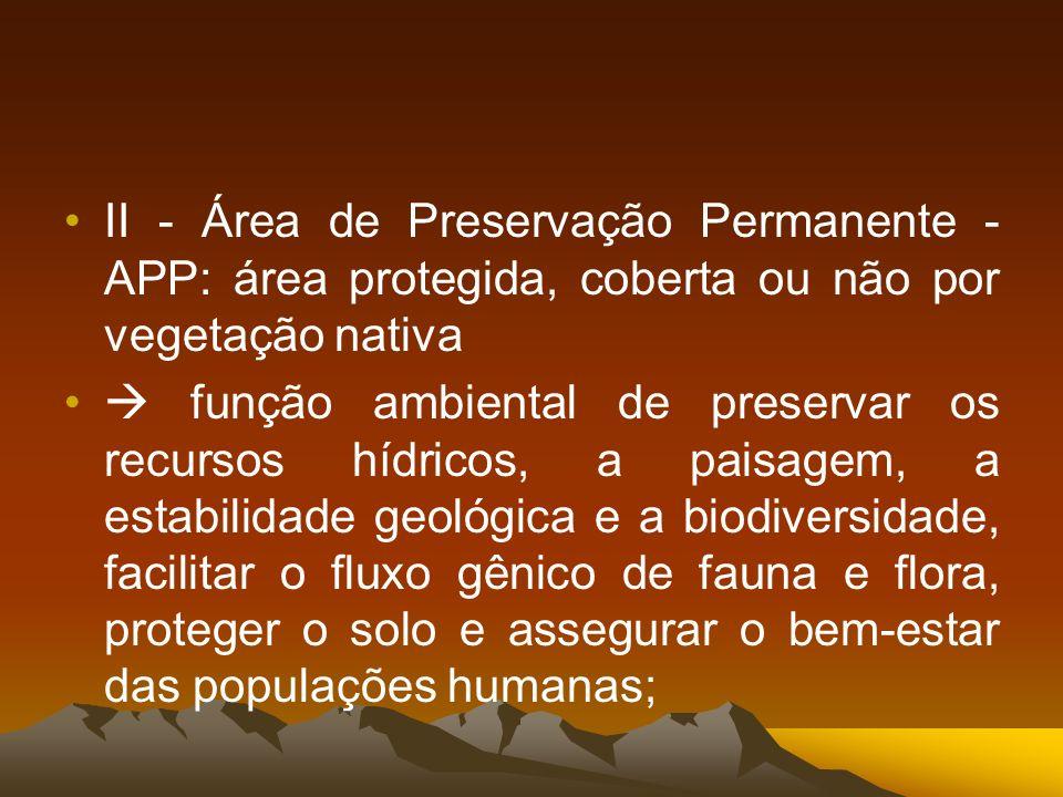 II - Área de Preservação Permanente - APP: área protegida, coberta ou não por vegetação nativa
