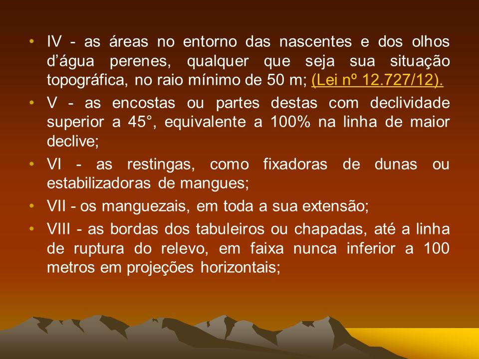 IV - as áreas no entorno das nascentes e dos olhos d'água perenes, qualquer que seja sua situação topográfica, no raio mínimo de 50 m; (Lei nº 12.727/12).