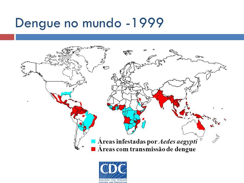 Dengue no mundo -1999 Áreas infestadas por Aedes aegypti