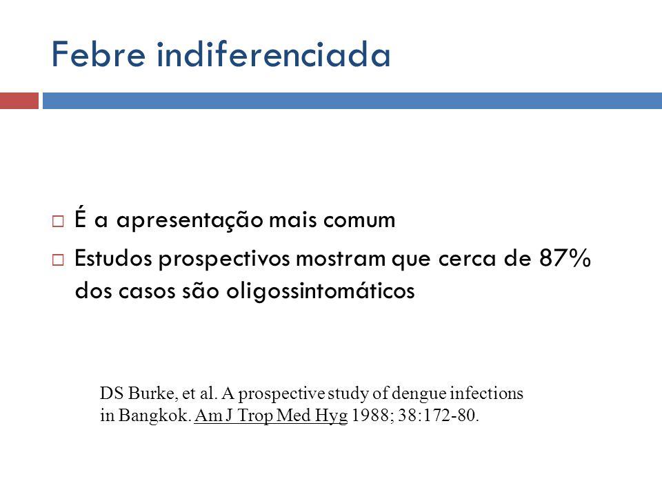 Febre indiferenciada É a apresentação mais comum