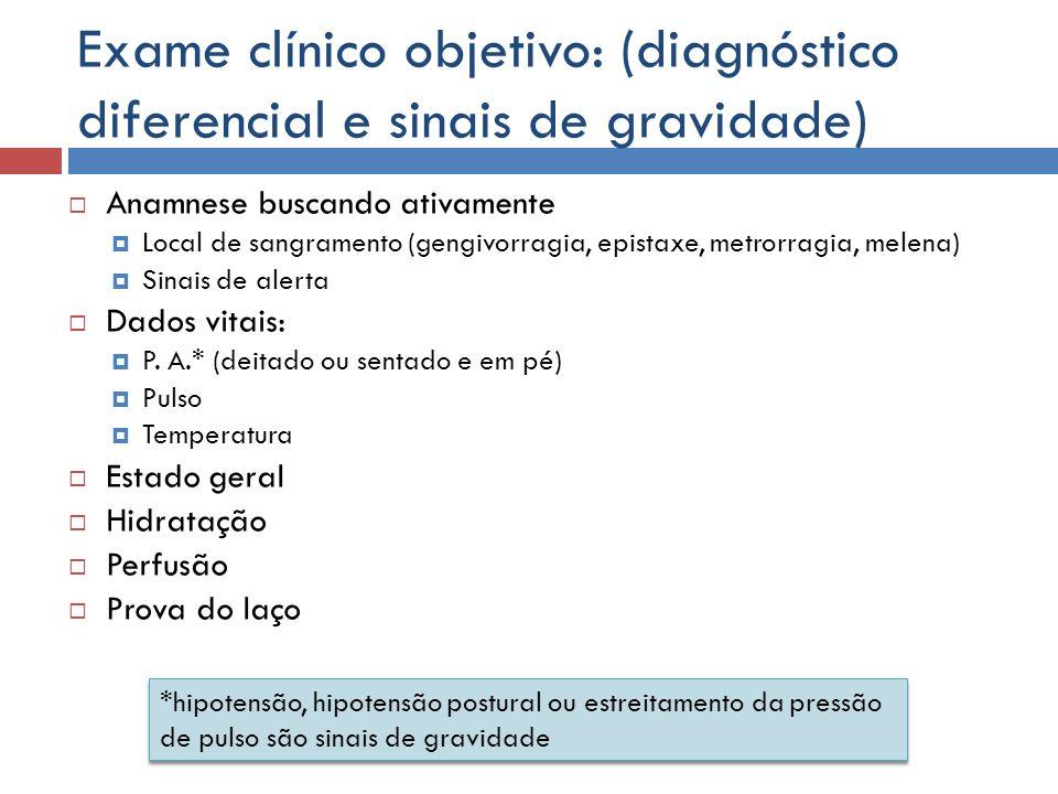 Exame clínico objetivo: (diagnóstico diferencial e sinais de gravidade)