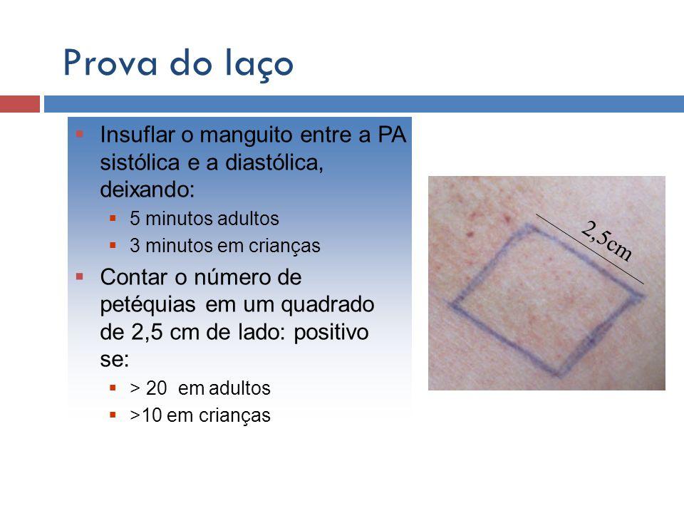 Prova do laçoInsuflar o manguito entre a PA sistólica e a diastólica, deixando: 5 minutos adultos. 3 minutos em crianças.