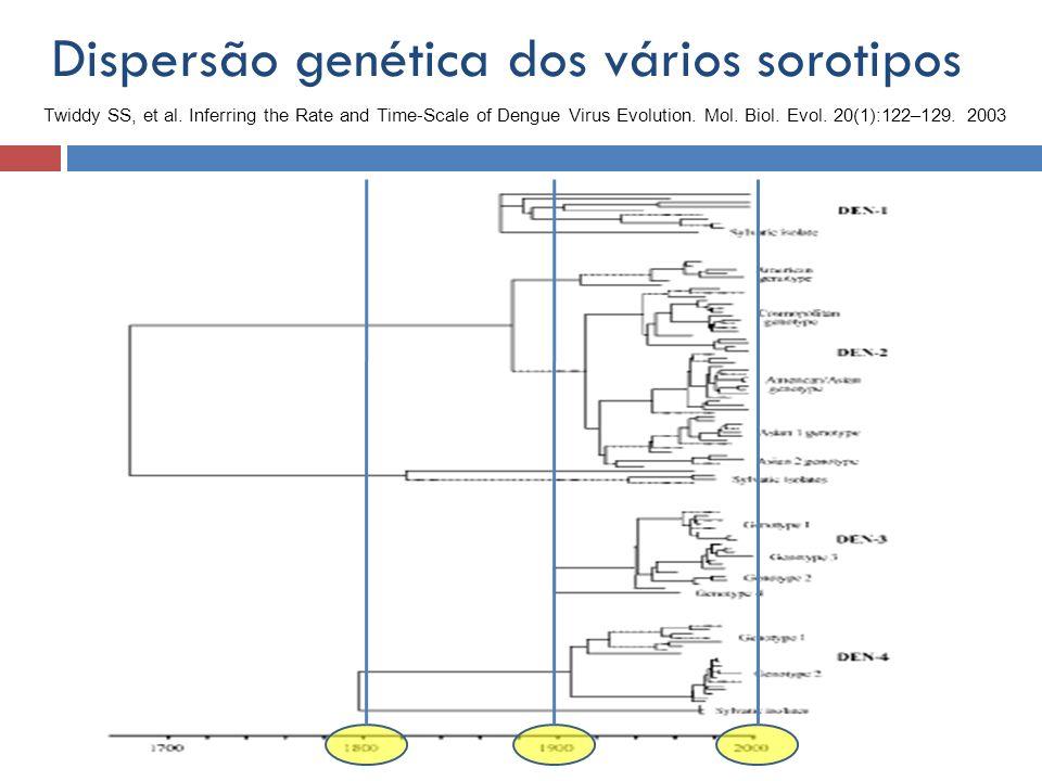 Dispersão genética dos vários sorotipos