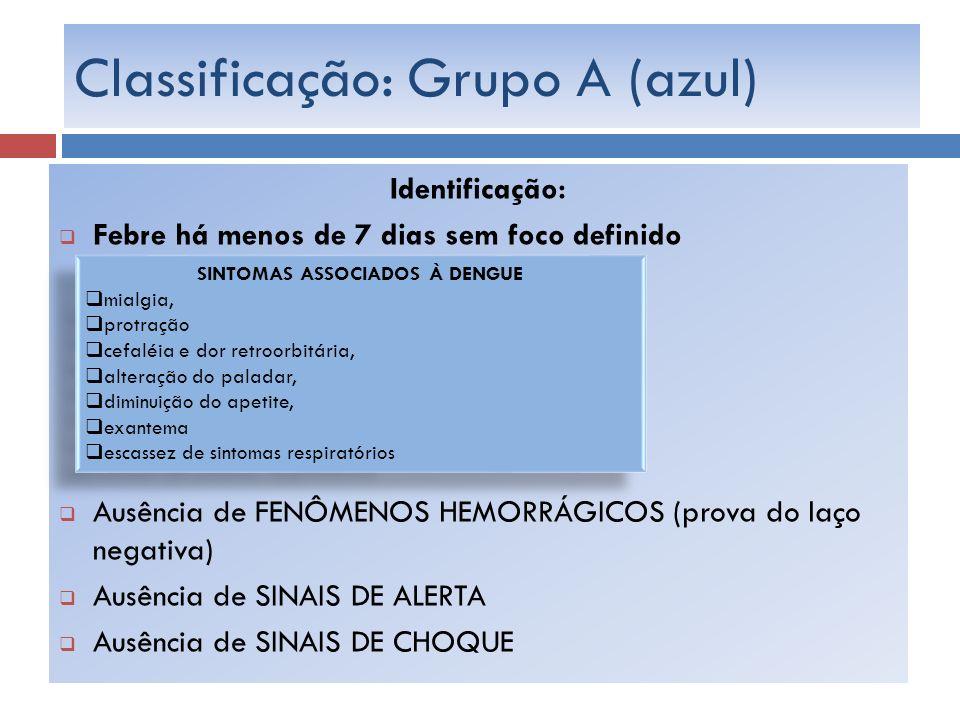 Classificação: Grupo A (azul)