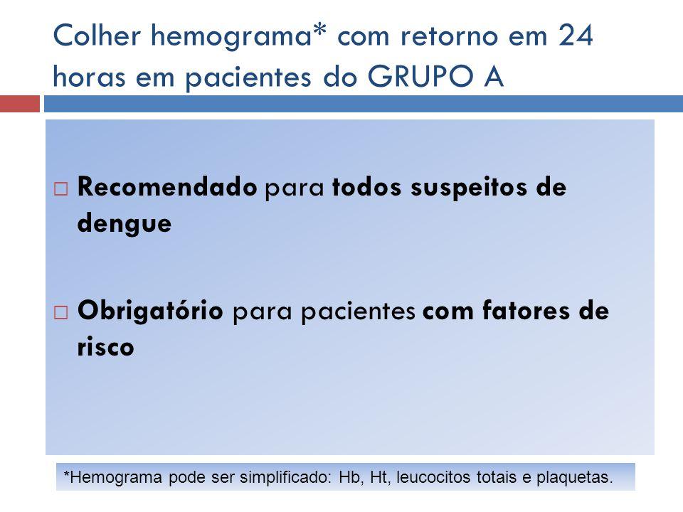 Colher hemograma* com retorno em 24 horas em pacientes do GRUPO A