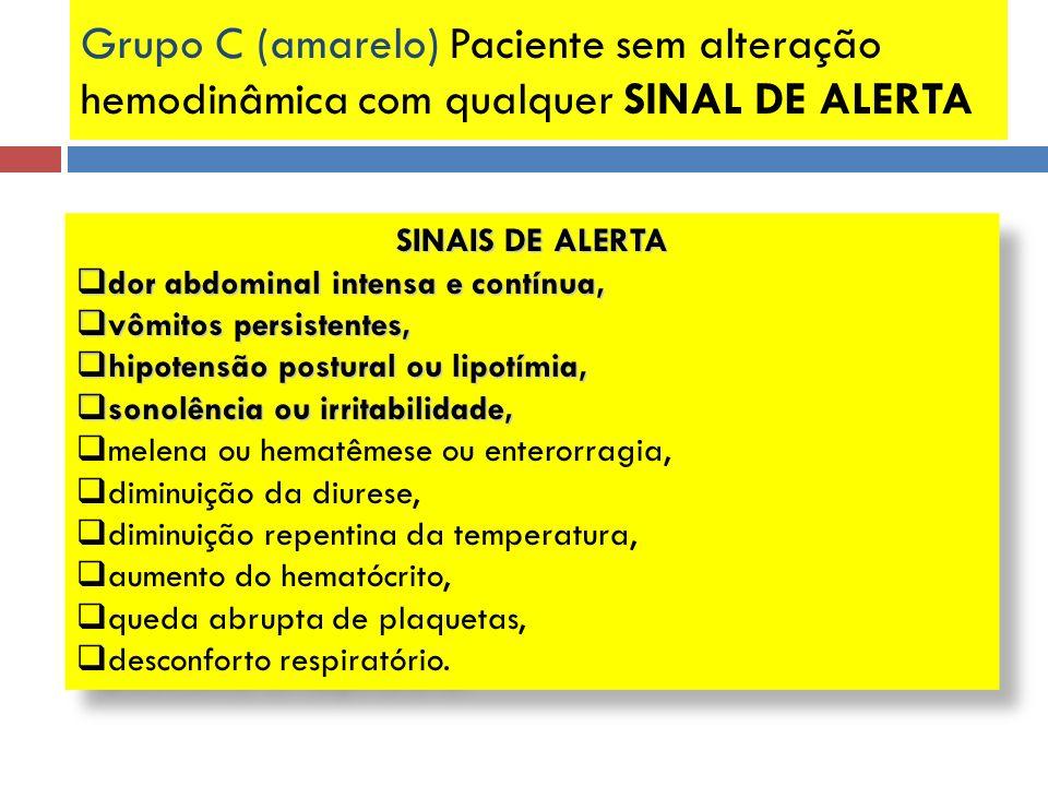 Grupo C (amarelo) Paciente sem alteração hemodinâmica com qualquer SINAL DE ALERTA