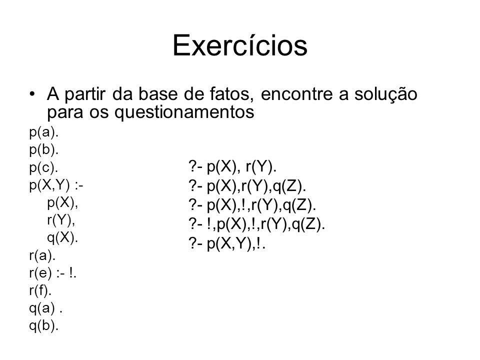 Exercícios A partir da base de fatos, encontre a solução para os questionamentos. p(a). p(b). p(c).