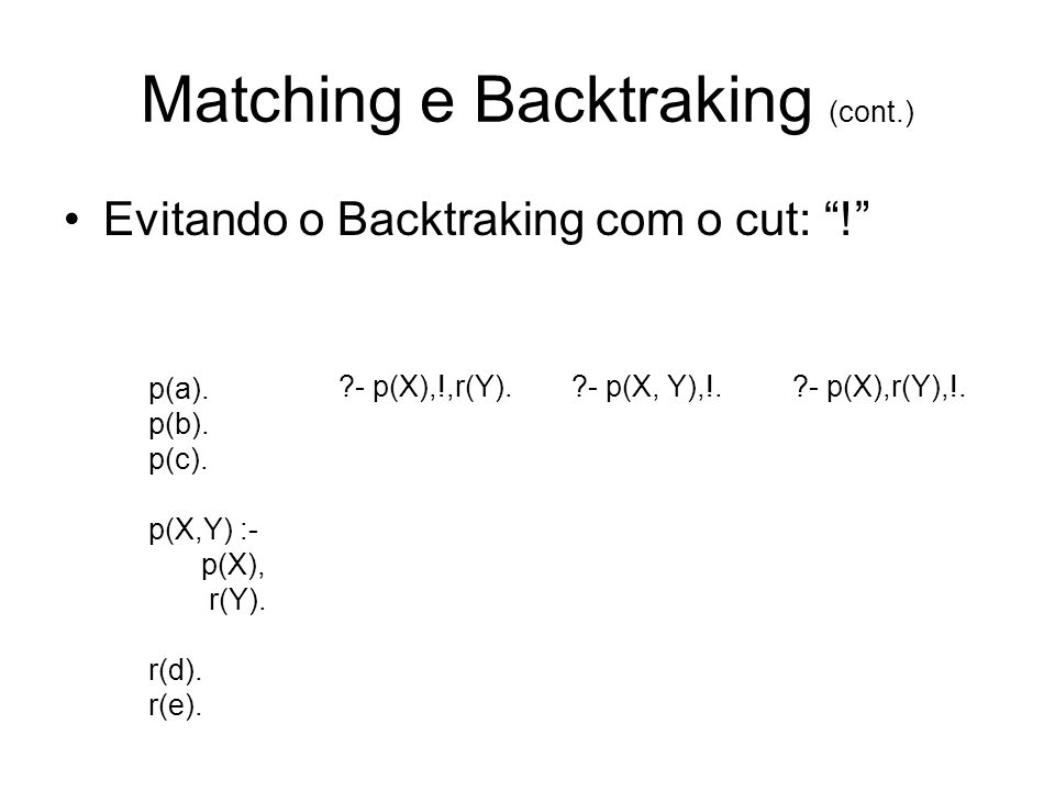Matching e Backtraking (cont.)