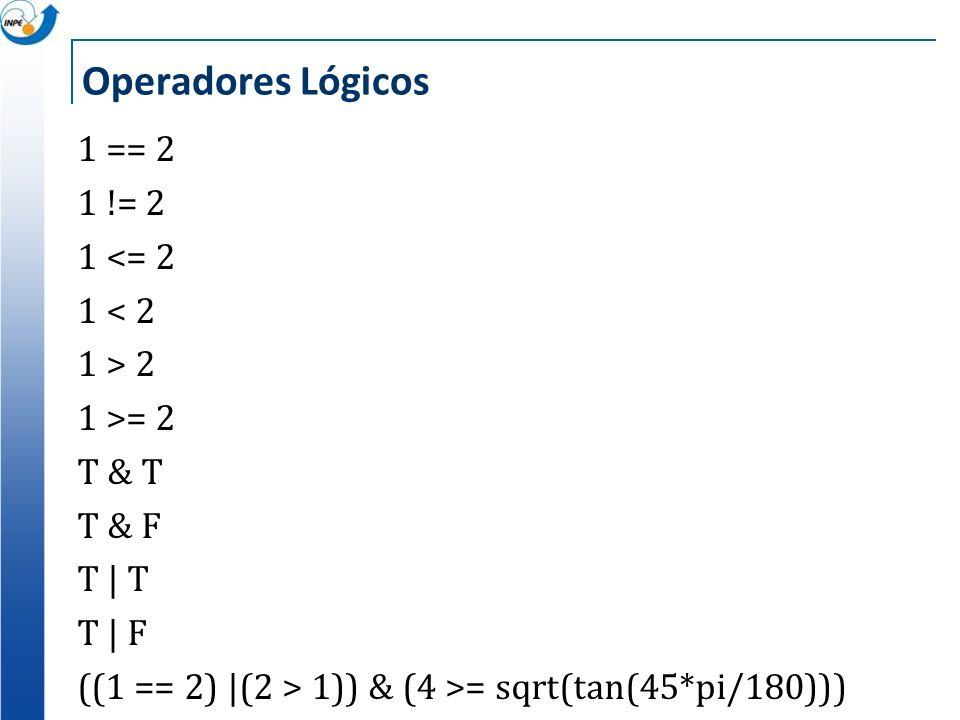 Operadores Lógicos1 == 2 1 != 2 1 <= 2 1 < 2 1 > 2 1 >= 2 T & T T & F T   T T   F ((1 == 2)  (2 > 1)) & (4 >= sqrt(tan(45*pi/180)))