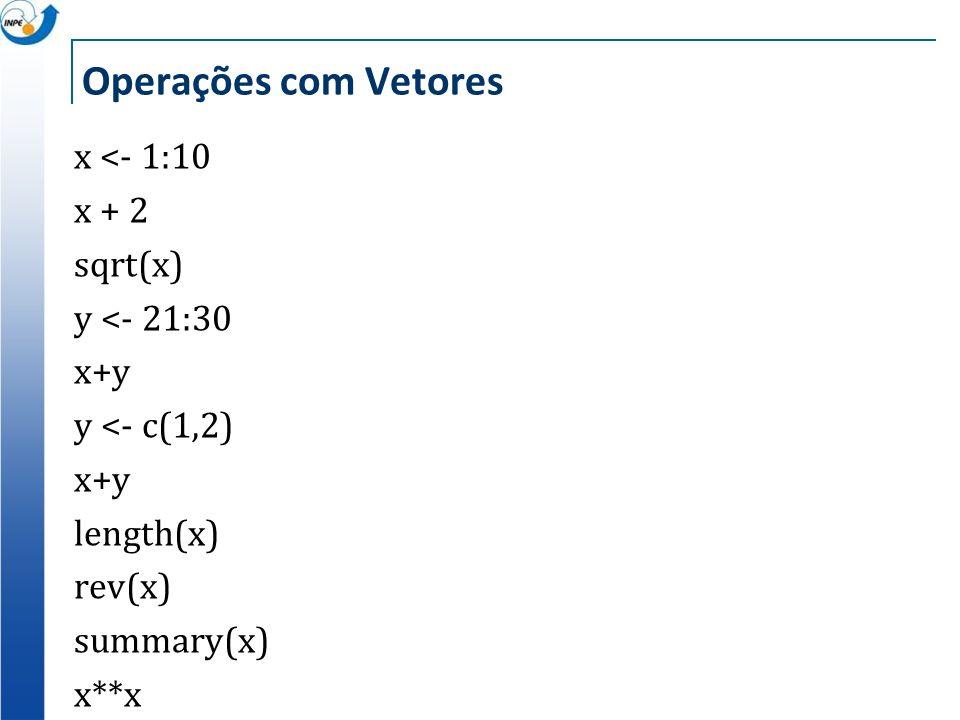 Operações com Vetoresx <- 1:10 x + 2 sqrt(x) y <- 21:30 x+y y <- c(1,2) length(x) rev(x) summary(x) x**x