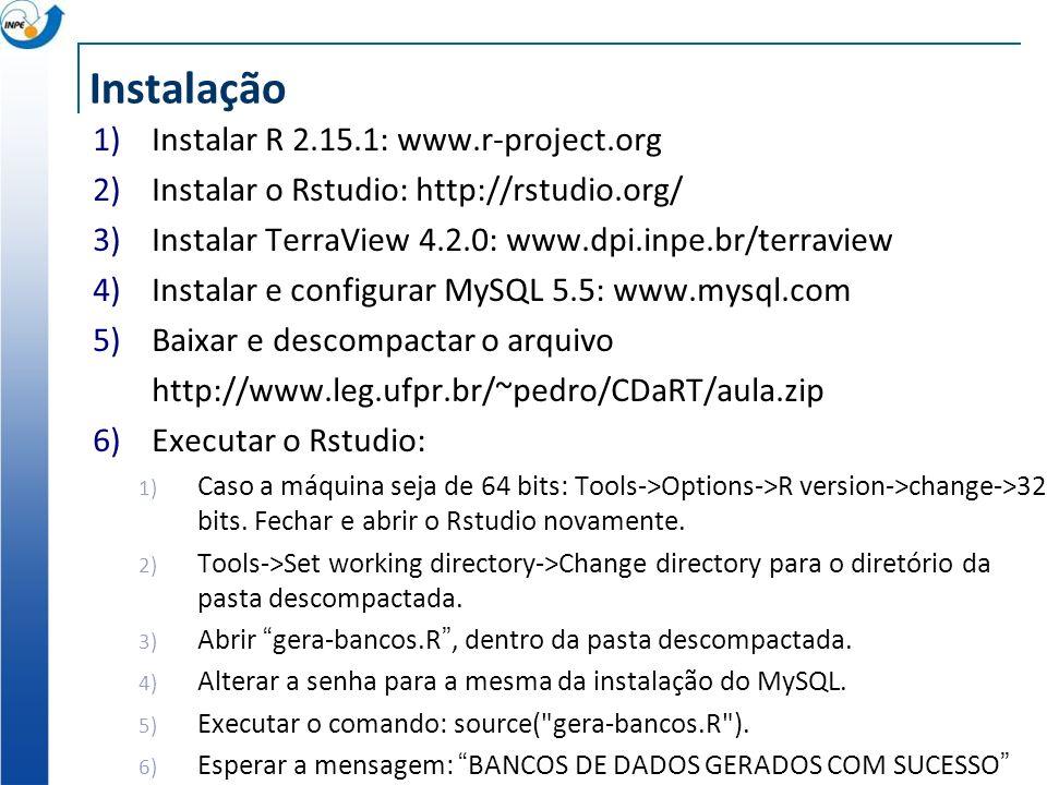 Instalação Instalar R 2.15.1: www.r-project.org