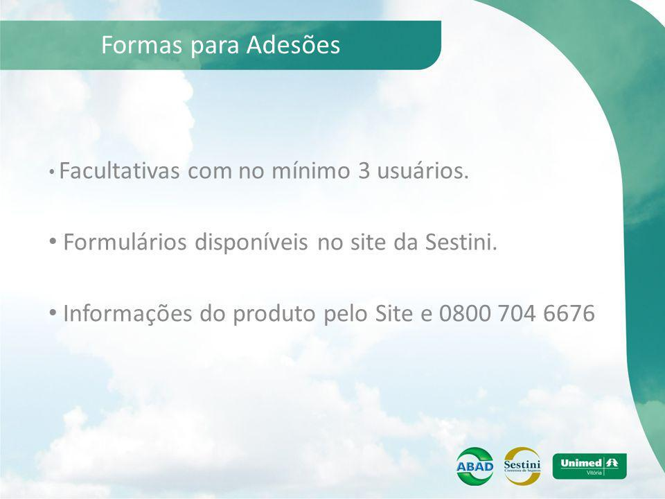 Formas para Adesões Formulários disponíveis no site da Sestini.