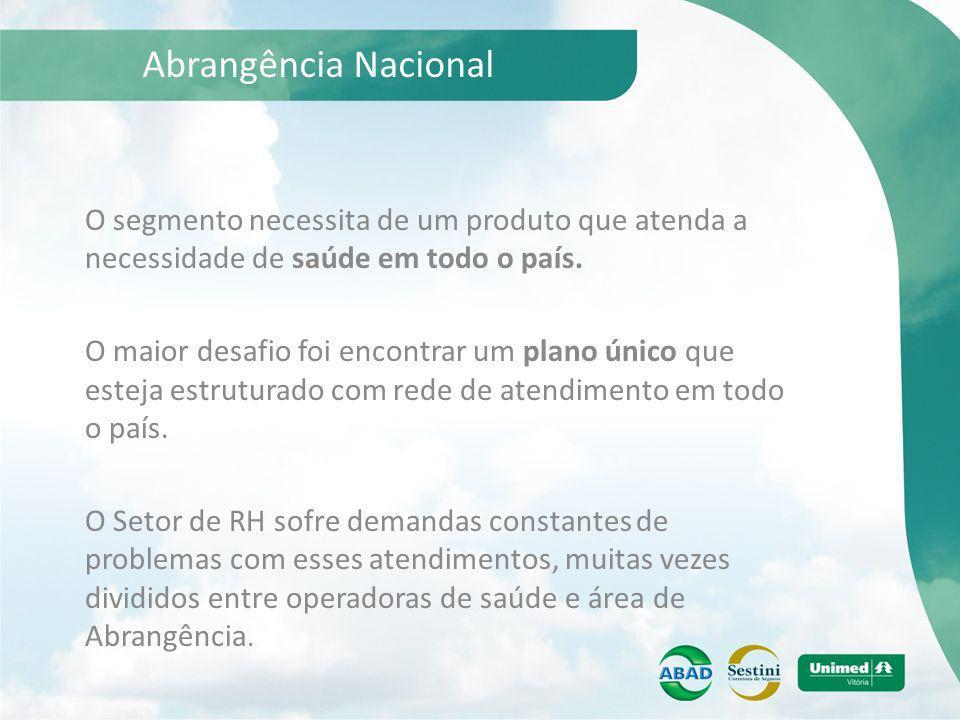 Abrangência Nacional O segmento necessita de um produto que atenda a necessidade de saúde em todo o país.