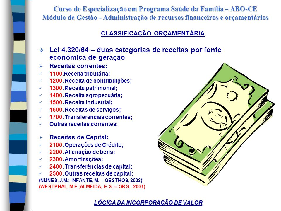 CLASSIFICAÇÃO ORÇAMENTÁRIA LÓGICA DA INCORPORAÇÃO DE VALOR