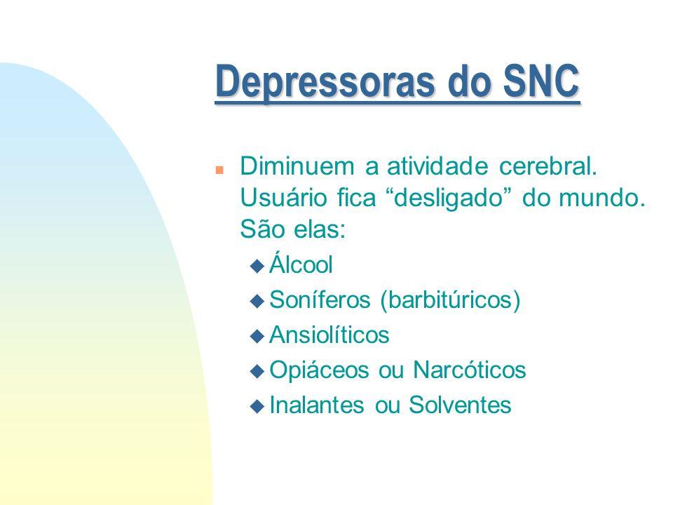 Depressoras do SNC Diminuem a atividade cerebral. Usuário fica desligado do mundo. São elas: Álcool.