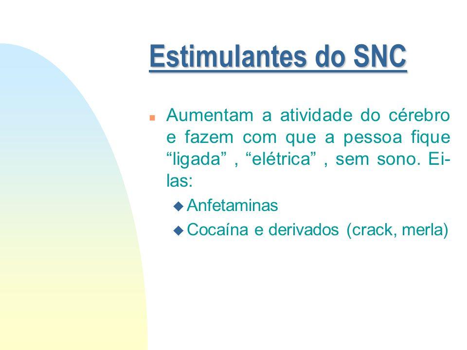 Estimulantes do SNC Aumentam a atividade do cérebro e fazem com que a pessoa fique ligada , elétrica , sem sono. Ei-las: